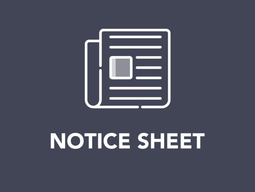 January Notice Sheet